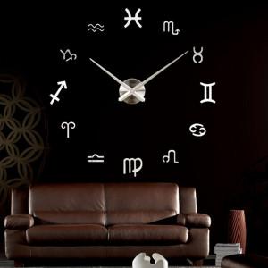 Decal dán tường Đồng hồ khổ lớn ký hiệu đặc biệt màu bạc