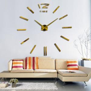Decal dán tường Đồng hồ nét gạch khổ lớn màu vàng