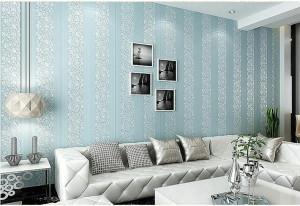Giấy dán tường 3d hoa văn và sọc dây trắng