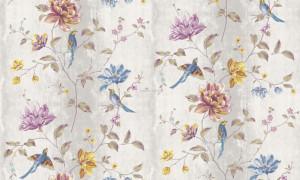 Giấy dán tường hoa và chim xanh 1
