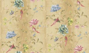 Giấy dán tường hoa xanh và chim