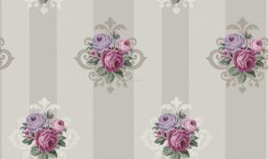 Giấy dán tường sọc hoa hồng