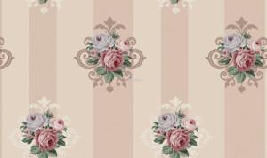 Giấy dán tường sọc hoa hồng phấn