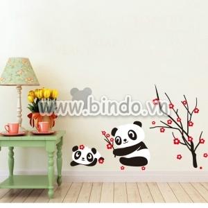 Decal dán tường Hoa đào và gấu