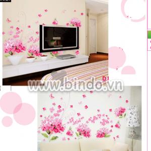 Decal dán tường Hoa ru băng hồng