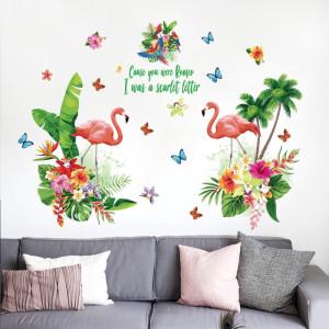 Decal dán tường Hồng hạc sắc màu