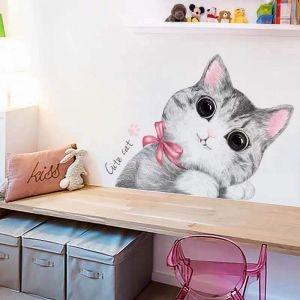Decal dán tường Mèo con dễ thương
