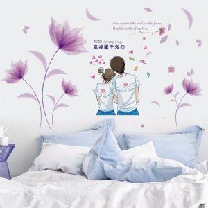 Decal dán tường Tình yêu hoa tím