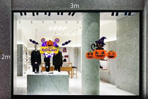 Decal dán tường Trang trí Halloween bí ngô và mèo đen