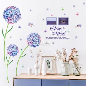 Decal dán tường Tú cầu xanh tím
