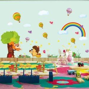 Decal dán tường Vườn thú và khí cầu